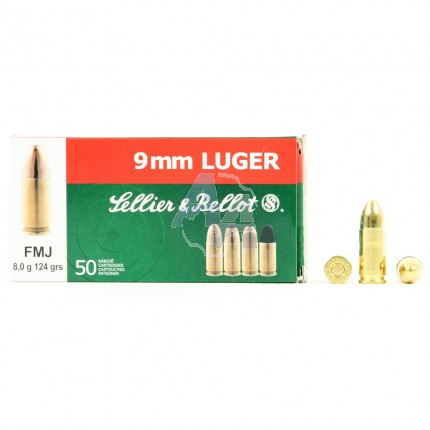 50 Munitions Sellier & Bellot, calibre 9x19 mm