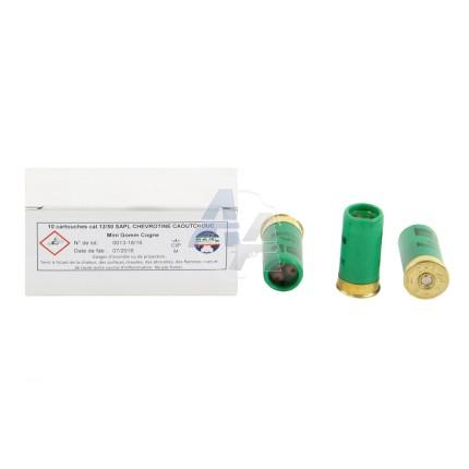 10 cartouches SAPL chevrotine caoutchouc, calibre 12/50