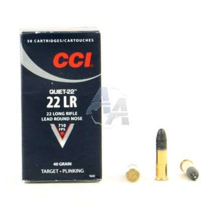 50 munitions CCI Quiet-22 calibre .22 LR