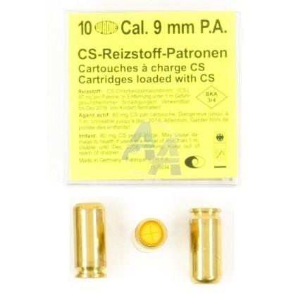 10 munitions CS, calibre 9 mm P.A.