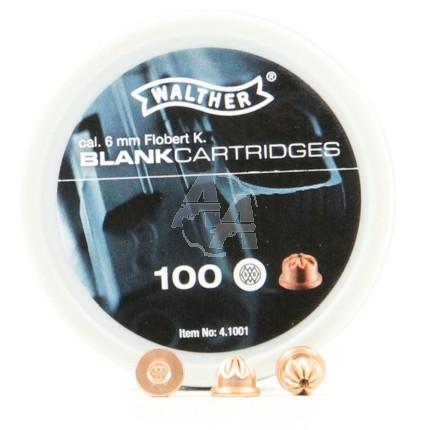 100 munitions à blanc, calibre 6mm Flobert
