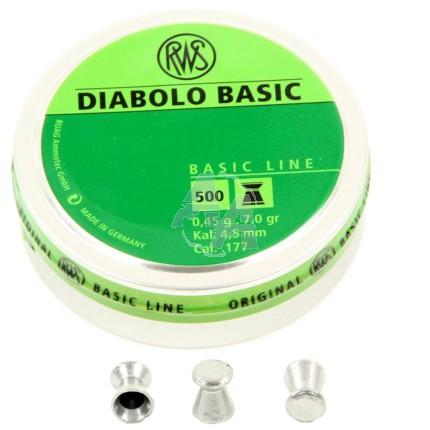 500 plombs RWS Diabolo Basic, calibre 4.5 mm