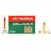 50 Munitions Sellier & Bellot FMJ, calibre 357 Magnum