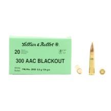 20 munitions Sellier & Bellot FMJ .300 AAC Blackout
