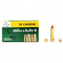 50 munitions Sellier & Bellot FMJ, calibre .30 Carbine