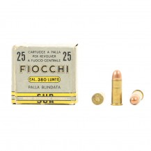 25 munitions Fiocchi, calibre .380 long rifle