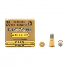 25 munitions Fiocchi, calibre .32 S&W court