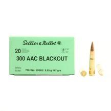 20 munitions Sellier & Bellot .300 AAC Blackout 147 gr