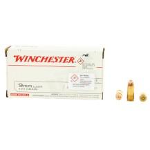 50 munitions Winchester 124 Gr, calibre 9x19 mm