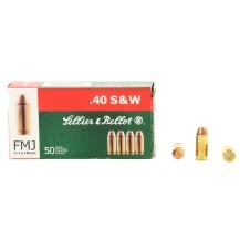 50 munitions Sellier & Bellot FMJ 180 gr, .40 S&W
