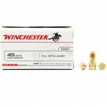 100 munitions Winchester, calibre 45 ACP