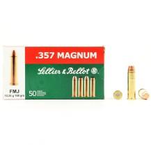 50 Munitions Sellier & Bellot FMJ, calibre 357 Magnum