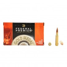 20 munitions Federal Gold Medal 168 gr, calibre .308 Win