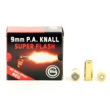 25 munitions à blanc Geco Super Flash, calibre 9mm PA