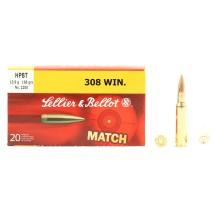 20 munitions Sellier & Bellot HPBT, calibre .308 Win
