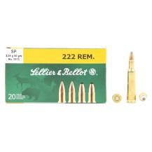 20 munitions Sellier & Bellot, calibre .222 Remington