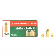 50 munitions Sellier & Bellot, calibre 7.65 mm Browning