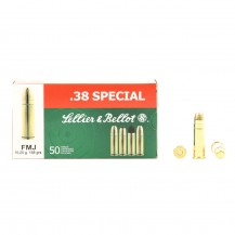 50 Munitions Sellier & Bellot FMJ 158 grs, cal .38 Special