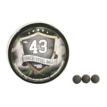 100 billes de caoutchouc Rubber Steel  Balls cal .43