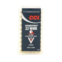 50 munitions CCI Gamepoint JSP, calibre .22 WMR