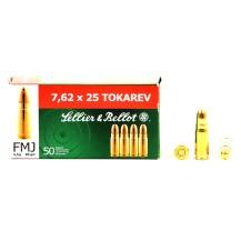 50 munitions Sellier & Bellot, calibre 7.62x25 Tokarev
