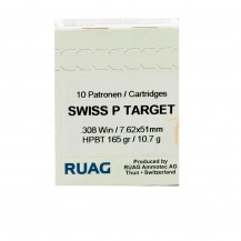 10 munitions Ruag Swiss P HPBT 165 gr .308 Win