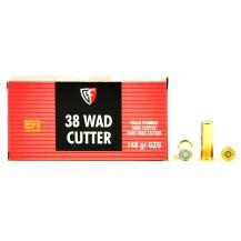 50 munitions Fiocchi Wad Cutter plomb, cal. .38 SPL