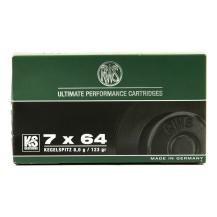20 munitions RWS pointe conique 123 Gr, calibre 7x64