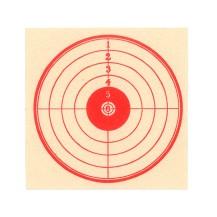 100 cibles rouges sur fond blanc 14x14 cm