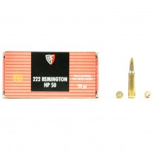 50 Munitions Fiocchi JHP 50 Gr, calibre .222 Remington