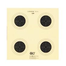 100 cibles GEF carabine 10 mètres 4 visuels 14x14 cm