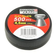 500 Plombs Swiss Arms tête plate jupe lisse, 4.5 mm