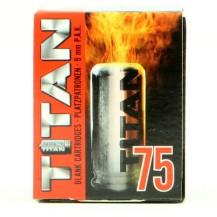 75 munitions à blanc Titan, calibre 9 mm PAK