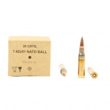 20 munitions GGG type M80 FMJ, calibre 7.62 OTAN