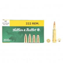 20 munitions Sellier & Bellot, calibre .222 Remington