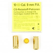 10 munitions CS, calibre 9 mm P.A.